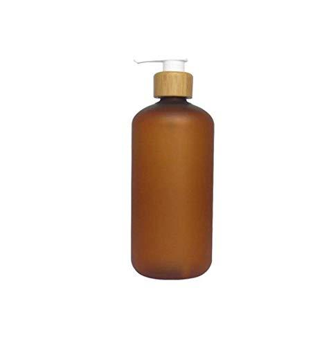 Upstore - Botella de plástico antigoteo con Bomba de bambú, dispensador de Jabón Líquido para inodoros, cosméticos, lociones, contenedores de Almacenamiento, plástico, Marrón, 250ml/8oz