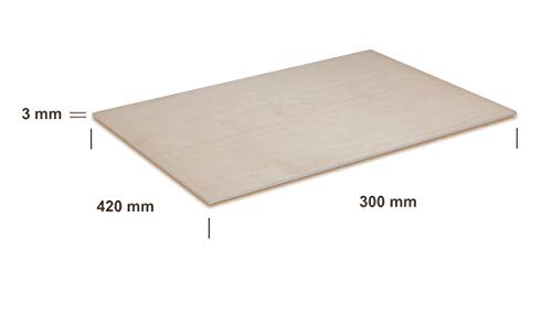 Creative Deco 3 x A3 Plywood Sheets 3mm | 420 x 300 x 3 mm | Baltic Birch  Wood Ply | Perfect for Pyrography, Laser Cutting, CNC Router, Modelling,