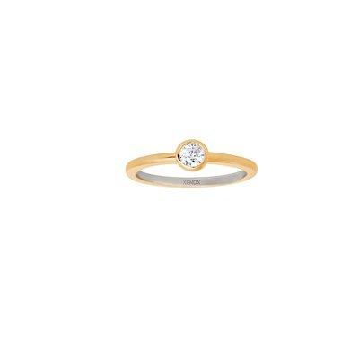 Xenox Damen Verlobungsring mit weißem Solitär vergoldet Ringgröße 58