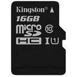 Kingston SDCS/16GBSP MicroSD Canvas Select UHS-I Classe 10 avec vitesse de lecture allant jusqu'à 80Mo/s ( carte seule ) - Donnez vie à vos vidéos HD