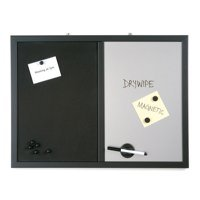 Bi-Office Combination Message Board, Silver Finish Magnetic Dry erase / Black Softouch Notice Board, 60 x 90