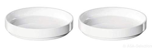 ASA 51500017 APERO Novo Lot de 2 Assiettes à Snack Blanc 15 cm