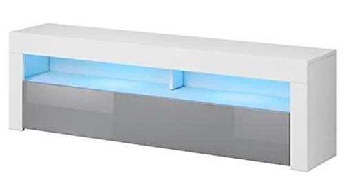 PEGANE Meuble TV Blanc/Gris Brillant, en Panneaux de Particules, éclairage LED - Dim : 160 x 35 x 55cm