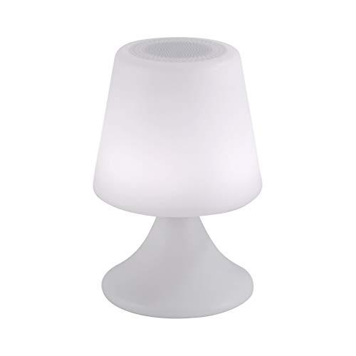 LED Akku Leuchte 50 Lm mit integriertem 5W Bluetooth Lautsprecher, tragbarer Party Pilz, mobile kabellose Musik Box für Garten Park Picknick, Lampe inkl. Fernbedienung Lichtprogramme RGB Bluetooth Flash