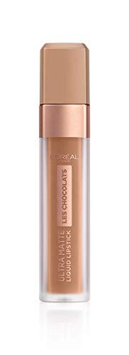 Ginger Lippenstift (L'Oréal Paris Infaillible Ultra Matte Les Chocolats in Nr. 860 Ginger Bomb, Flüssig-Lippenstift mit Ultra-Matt-Finish und Schokoladen-Duft, 8 ml)