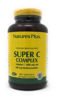 Nature's Plus Super C Complex 1000mg 500mg Bioflavonoide (Tabs) 180 Tabletten S/R (404g)