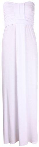 Purple Hanger - Robe Longue Pour Femme Style Été Sans Bretelles Froncé Buste Bandeau Plissé Blanc