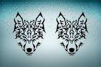 Akachafactory 2X Autocollant Sticker Voiture Moto Loup Biker Wolf Motard no Club Tuning r2