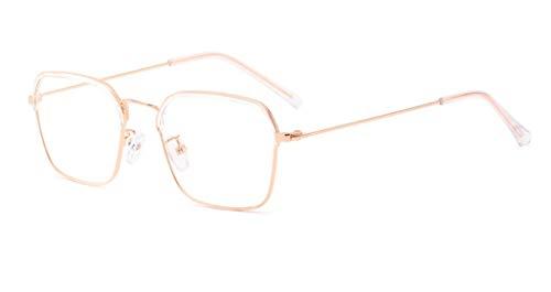 Metall Frame Retro Glasrahmen-Ebenenspiegel Dekobrille Klassisches Halbrahmen Hornbrille Rahmen Glasses Klare Linse Brille