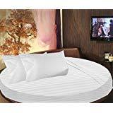 scalabedding rund Bett gestreift Spannbettlaken 100% ägyptische Baumwolle Fadendichte 300King 243,8cm Durchmesser Weiß
