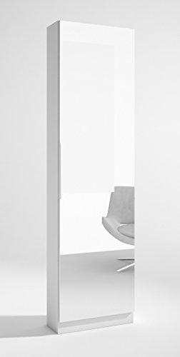 Armario Zapatero Trend 1 Puerta con Espejo Entero Interior de Varillas Color Blanco 50x20x180 cm