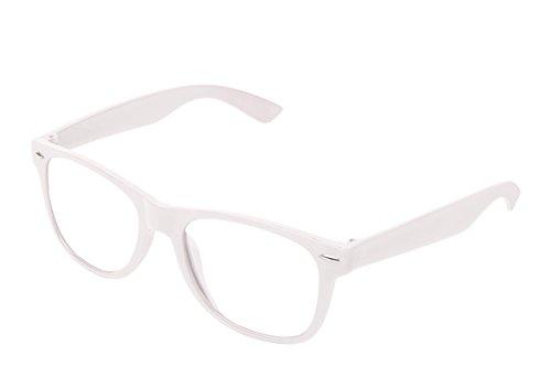 Sonnenbrille Nerdbrille retro Art. 4026 - Boolavard TM (Weiß Klar)
