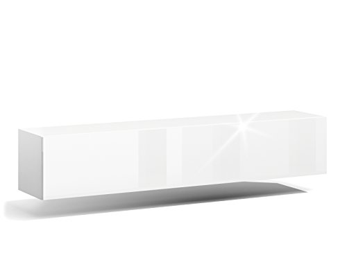 RODRIGO TV Lowboard 160cm Weiss Hängeboard Hochglanz TV Board modernes Design (korpus matt weiß+Front weiß Hochglanz)