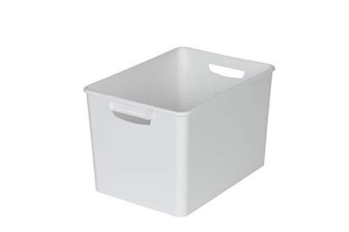 XL Aufbewahrungsbox aus Kunststoff mit zwei Griffen in WEISS (nicht transparent), Maße: 26x 38x 24cm–geeignet für Regale, Schränke, und vieles mehr