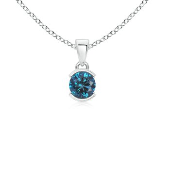 Half-Bezel Round Enhanced Blue Diamond Solitaire Pendant Necklace in 14K White Gold (Color: Blue, Clarity: Slightly Included, Weight: 0.55ctwt)