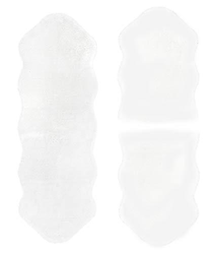 andiamo Lammfell Schaffell Imitat Kunstfell Teppich Dekofell Longhair Bettvorleger Bettumrandung, 2x 55*80 cm + 1x 55*160 cm, weiß