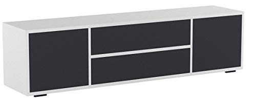 Vicco Lowboard Grande Weiß Anthrazit - Fernsehschrank Sideboard TV Fernsehtisch/Hochglanz Fronten oder Soft Touch/Inkl Push to Open Funktion (Soft Touch)