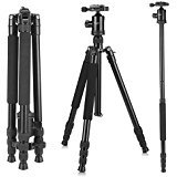 Camera Tripod, KetDirect Portable Lightweight Travel Tripod For Camera, Professional Magnesium Aluminium monopod With 360 Degree Ball Head and Carry Case For Canon Nikon Sony Olympus DSLR Cameras(Blue,Black.Orange) (Black)