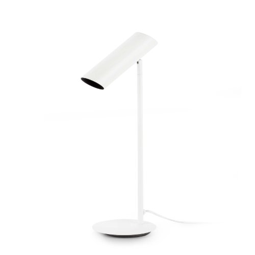 Luminaria sobremesa de aspecto moderno fabricada en acero. Esta lámpara ha sido diseñada por Estudi Ribaudí.