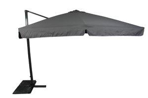 Sonnenschirm Ampelschirm 3x3m grau PE-Schutzhülle drehbarer Fuß