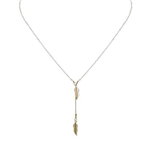 Clode  Catenina con Catena a Forma di Foglia Semplice e Regolabile da Donna (Oro)