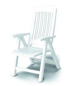 Sedia a sdraio bianco prendisole pieghevole in cinque posizioni
