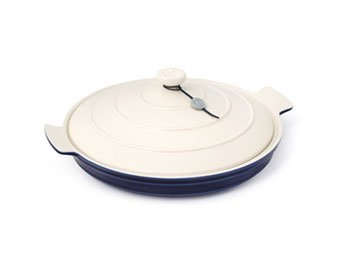 BlissHome, Hairy Bikers World, Buffet Cooking Dish, Medium, Cream Lid Blue Base