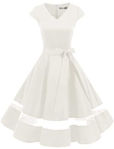Gardenwed 1950er Vintage Retro Cocktailkleid Cap Sleeves Rockabilly Kleider Damen Schwingen Petticoat Faltenrock White XL (Kleid Die Kommunion Für)