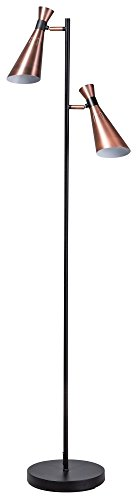 ETH Moderne Lampadaire / Lampe de sol / Lampe sur Pied / Luminaire / Lumiere / Éclairage moderne noir avec 2 Plafonnier spots en cuivre - Jesse Metal Autres Compatible pour LED E14 Max. 2 x 60 Watt /