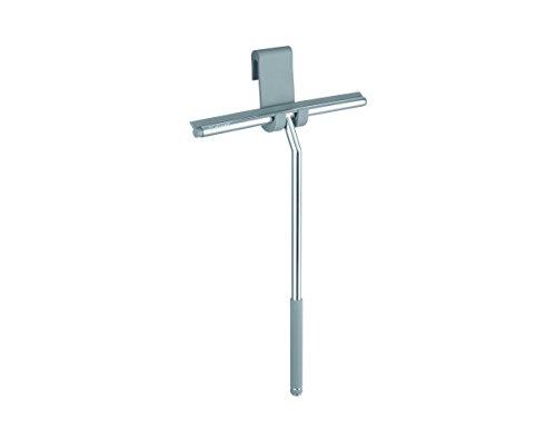 Nicol ERIK Premium Duschabzieher mit extra langem Griff - Silber aus Edelstahl mit Aufhänger für die Duschtür - Chrom Design Wasserabzieher zum Aufhängen ohne Bohren
