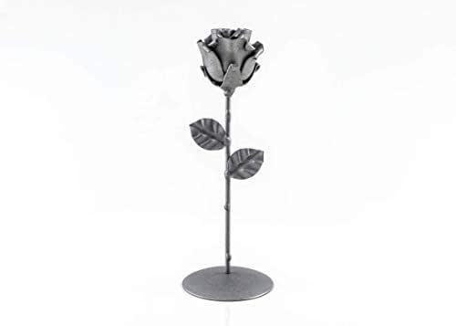 Rosa Eterna fatta di Ferro Battuto Grigio con piedistallo - Forgiata a Mano