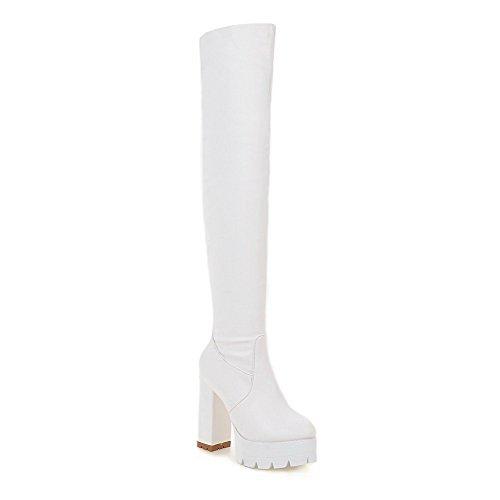 AgooLar Damen Rund Zehe Ziehen auf PU Leder Rein Hoher Absatz Stiefel, Weiß, 42
