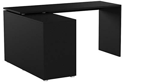 FMD 353-001_sc Lex Bureau Angulaire Réversible avec 4 Compartiments Ouverts + Porte et Tiroir Bois Noir 136 x 66,5 x 74 cm