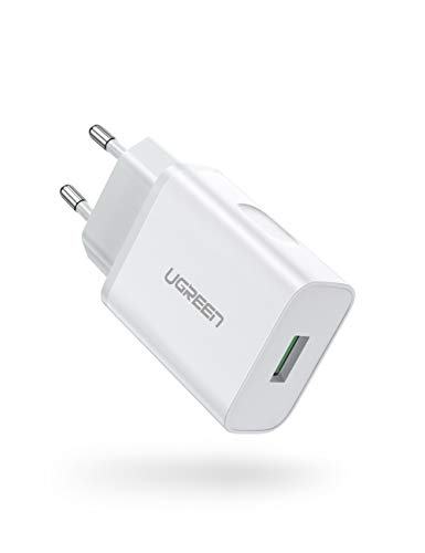 ugreen caricatore usb quick charge 3.0 caricabatterie 18w 5v 3a max currente ricarica veloce con tecnologia huawei fcp alimentatore compatible for smartphone samsung huawei xiaomi lg sony ecc
