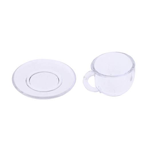 F Fityle Mini Acryl Kaffeetasse Teetasse Mit Untertasse Teeservice Modell für 1/12 Puppenstuben Esstisch Dekoration