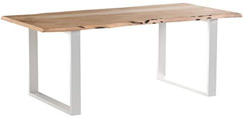 Esszimmertisch Salito 200x100 cm | Esstisch aus massiver Akazie | echte Baumkante Natur | U-Gestell aus Metall in Silber