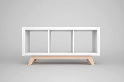 New Swedish Design IKEA Kallax Regal Untergestell, Holzgestell aus echter massiver Buche, für Kallax-Breite: 3 Regalfächer, schräge Möbelfüße, Füsse f. Sideboard Lowboard skandinavisch