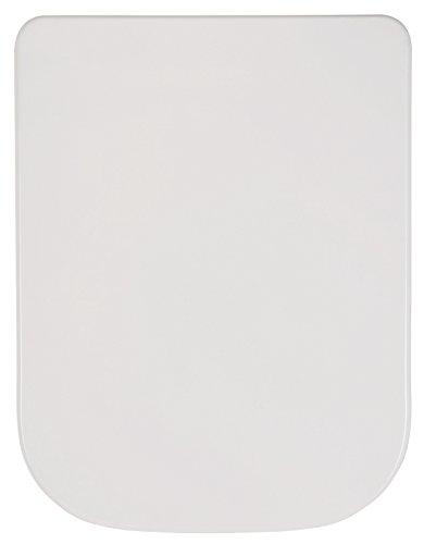 Preisvergleich Produktbild WC-Sitz passend zu Renova Nr. 1 Plan | Keramag | Weiß | Toilettensitz | WC-Brille aus Duroplast-Kunststoff | Soft-Close-Absenkautomatik | Edelstahl-Scharnier