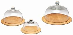 Continenta cloche à fromage, planche à fromage avec cloche en verre, 2 pièces, rond, plat à fromage en bois d'arbre à caoutchouc, disponible dans plusieurs ø – Bois máciza, marron, 26 cm