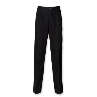 henbury-h600-mens-teflonr-coated-pleated-front-chino-trousers-black-40s