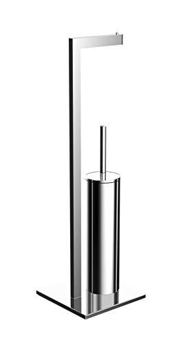 Emco loft WC Butler (Papierhalter, Bürstengarnitur mit Deckel, Standmodell, Toilettenpapierhalter) 58000101, Chrom, Normal
