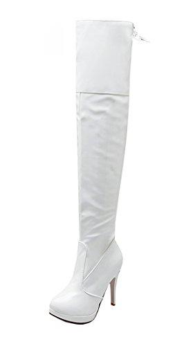 YE Damen Spitze Kniehoch Lack High Heels Stiefel Stiletto mit 10cm Absatz Glitzer Strass und Schnallen Boots (Stiefel Schnalle Heel Knie Stiletto)