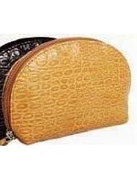 Clairefontaine, 1 trousse de maquillage en cuir marron avec fermeture éclair, 16x10x5x4cm