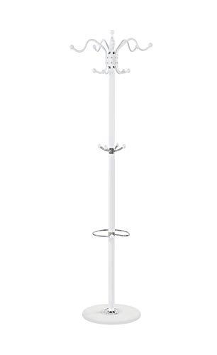 Maxx Waved - Perchero de pie (173 cm, Metal, Resistente a 14 Ganchos), diseño de mármol, Color Blanco
