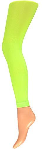 Neonfarbene Kostüm - krautwear Damen Mädchen Leggins Leggings 60 den Karneval Fasching Kostüm schwarz rot rosa blau (gelb-SM)