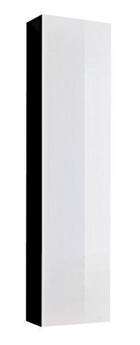 Muebles bonitos mobile pensile sospeso moderno modello amalfi nero bianco, anta lucida - larghezza: 40cm x altezza: 170cm x profondità: 29 cm lettiemobili
