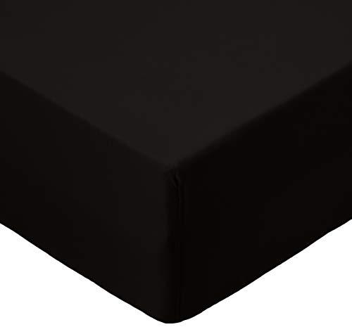 Amazonbasics - lenzuolo con angoli in microfibra, 90x190x30cm, nero
