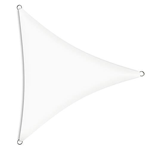 Schramm® Sonnensegel Dreieck gleichseitig in 2 verschiedenen Größen und 2 Farben Sonnenschutz Sichtschutz Windschutz, Farbe:Weiss, Größe:3.60 m x 3.60 m x 3.60 m