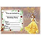 A5 DISNEY KIDS CHILDRENS PARTY INVITATIONS X 12 - BEAUTY AND THE BEAST SCENIC DESIGN