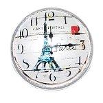 Eiffel Tower Clock Design Snap Button Glass Chunk Charm